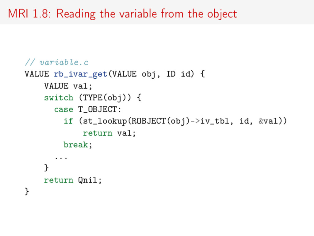 MRI 1.8: Reading the variable from the object /...