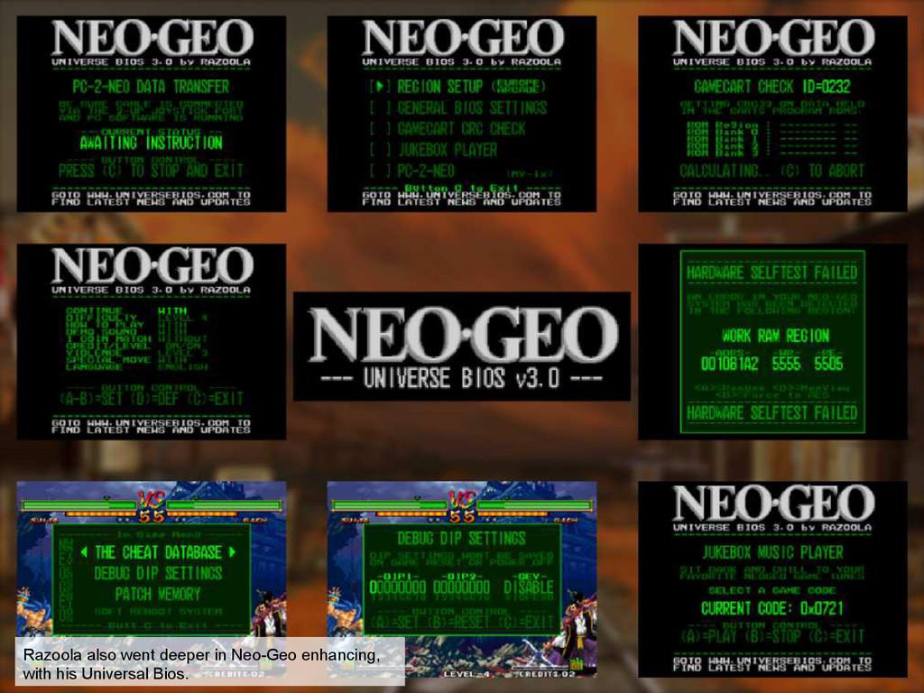 Razoola also went deeper in Neo-Geo enhancing, ...