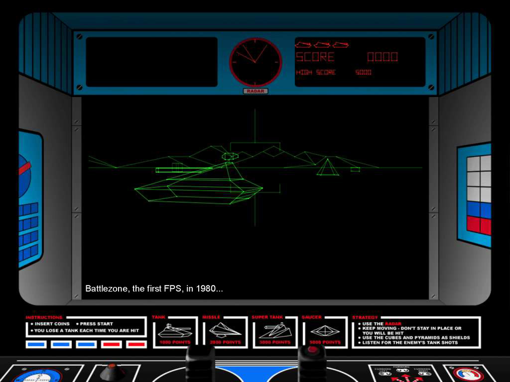 Battlezone, the first FPS, in 1980...