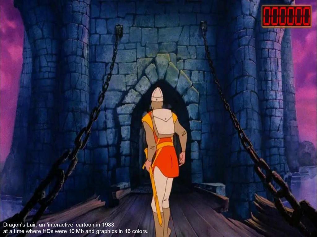 Dragon's Lair, an 'interactive' cartoon in 1983...