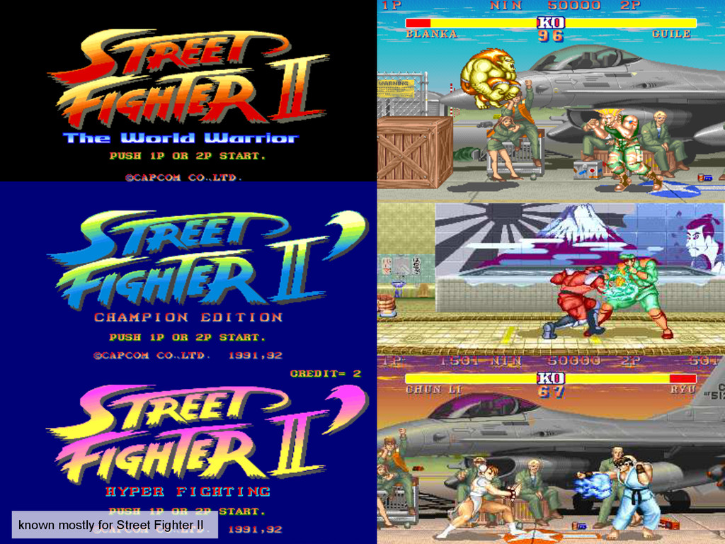 known mostly for Street Fighter II