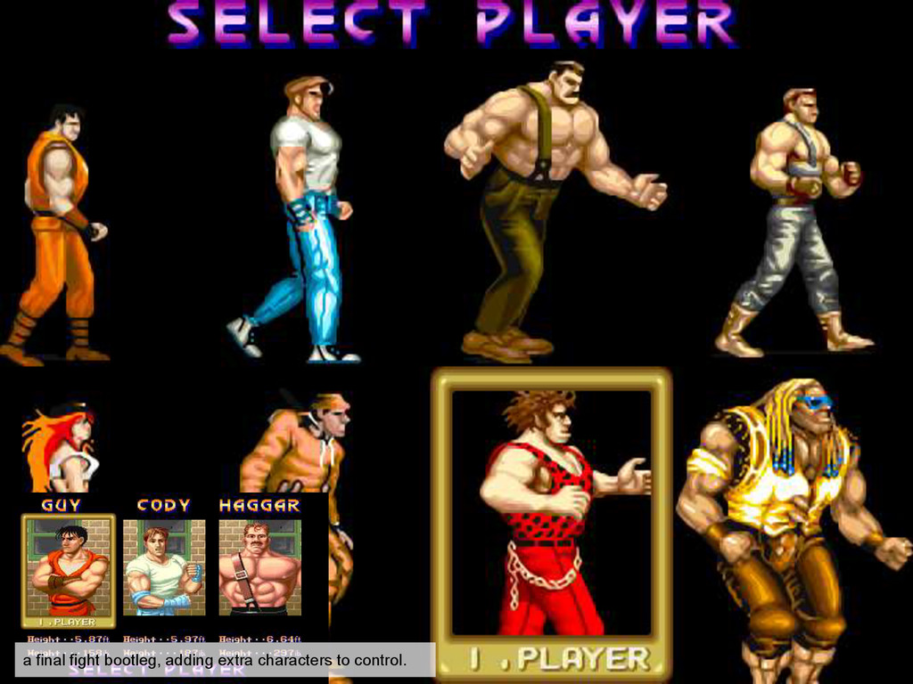 a final fight bootleg, adding extra characters ...