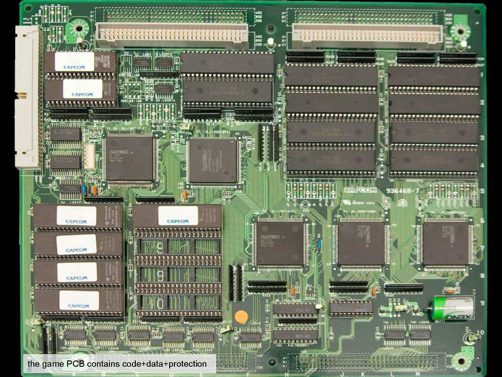 the game PCB contains code+data+protection