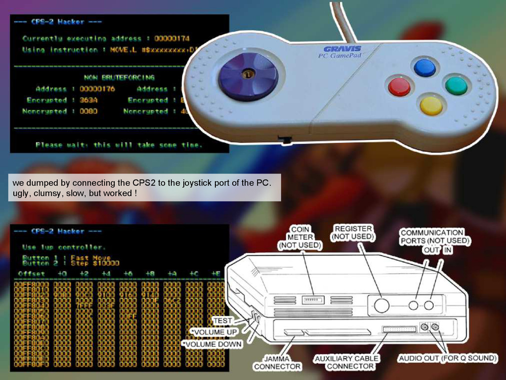 we dumped by connecting the CPS2 to the joystic...