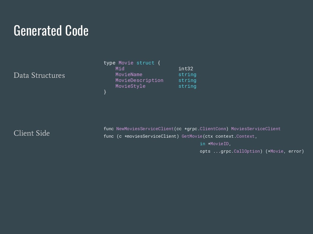 Generated Code func NewMoviesServiceClient(cc *...