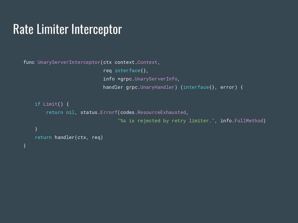 Rate Limiter Interceptor func UnaryServerInterc...