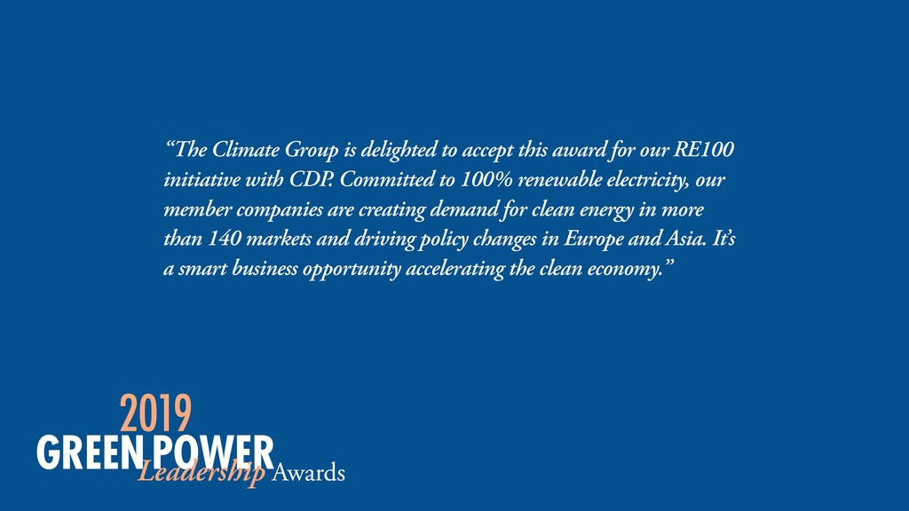 """The Climate Group is delighted to accept this ..."