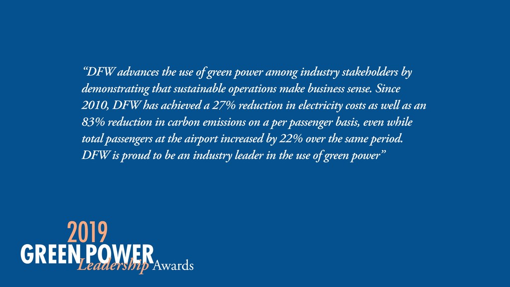 """DFW advances the use of green power among indu..."
