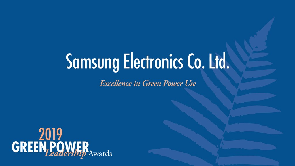 Samsung Electronics Co. Ltd. Excellence in Gree...