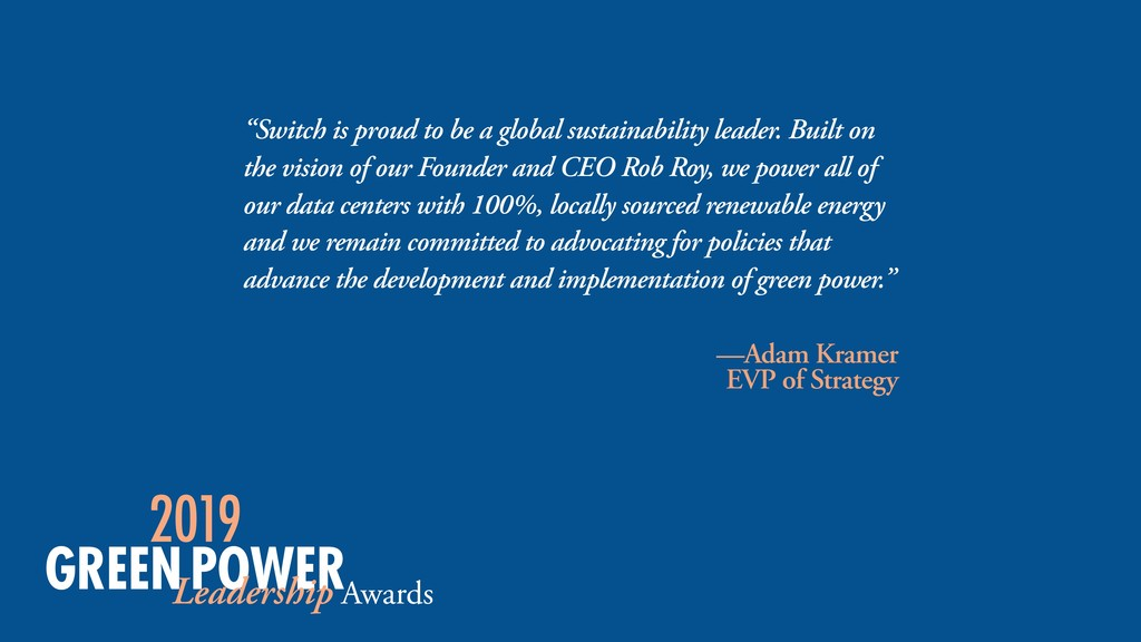 """Switch is proud to be a global sustainability ..."