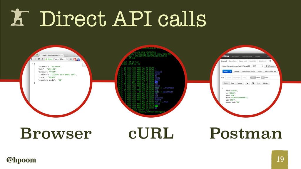 @hpoom h Direct API calls 19 Browser cURL Postm...