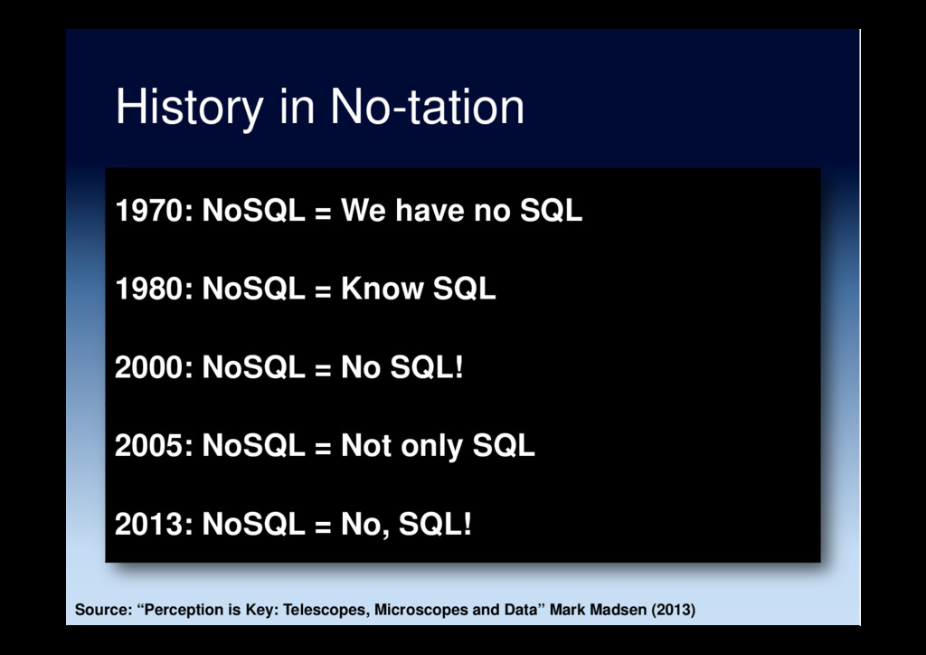 History in No-tation 1970: NoSQL = We have no S...
