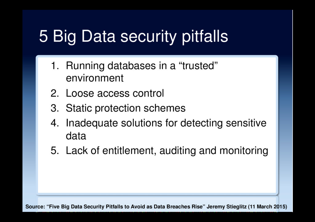 5 Big Data security pitfalls 1.  Running databa...