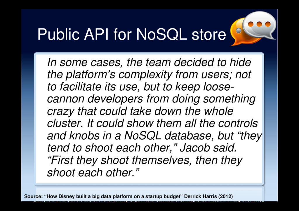 Public API for NoSQL store In some cases, the t...