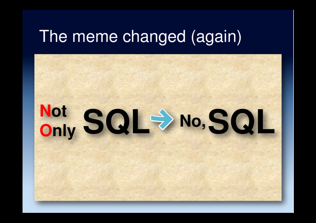 SQL Not Only The meme changed (again) No, SQL