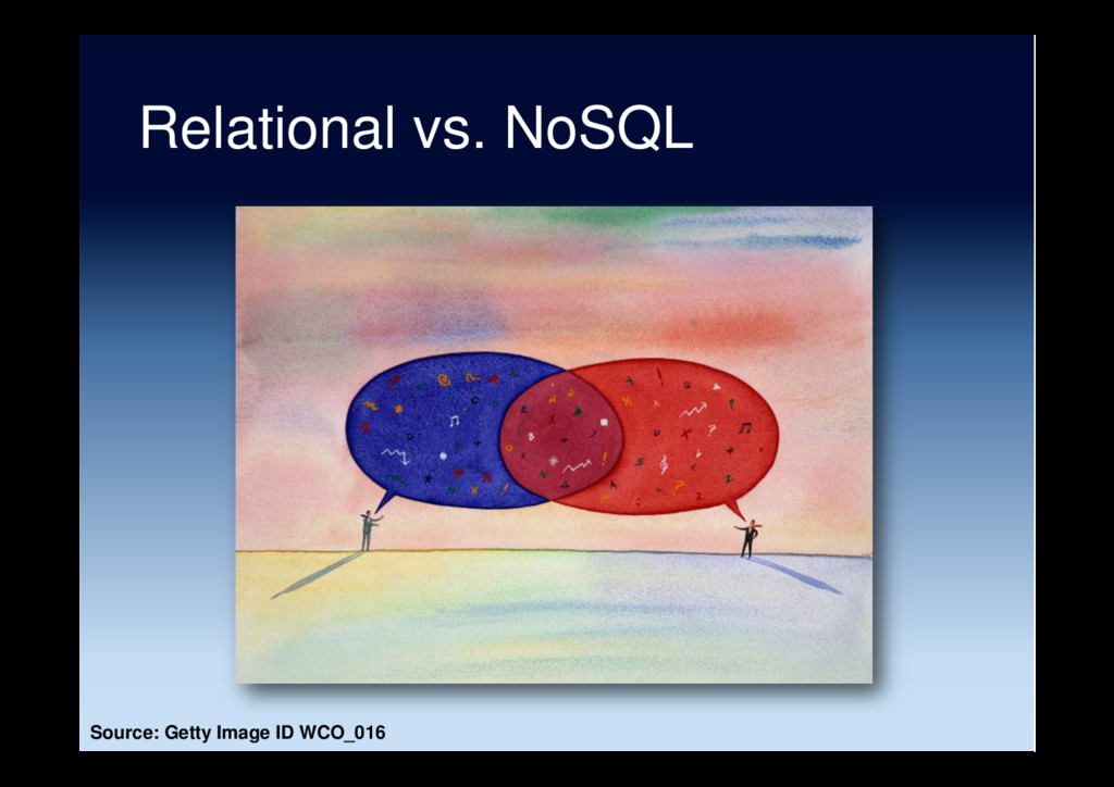 Relational vs. NoSQL Source: Getty Image ID WCO...