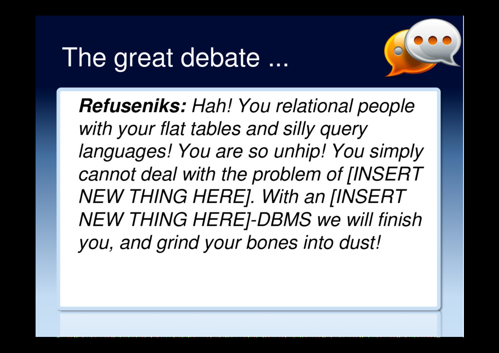The great debate ... Refuseniks: Hah! You relat...