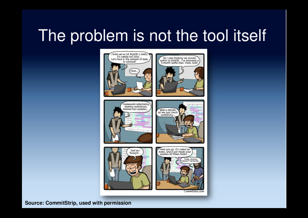 The problem is not the tool itself Source: Comm...