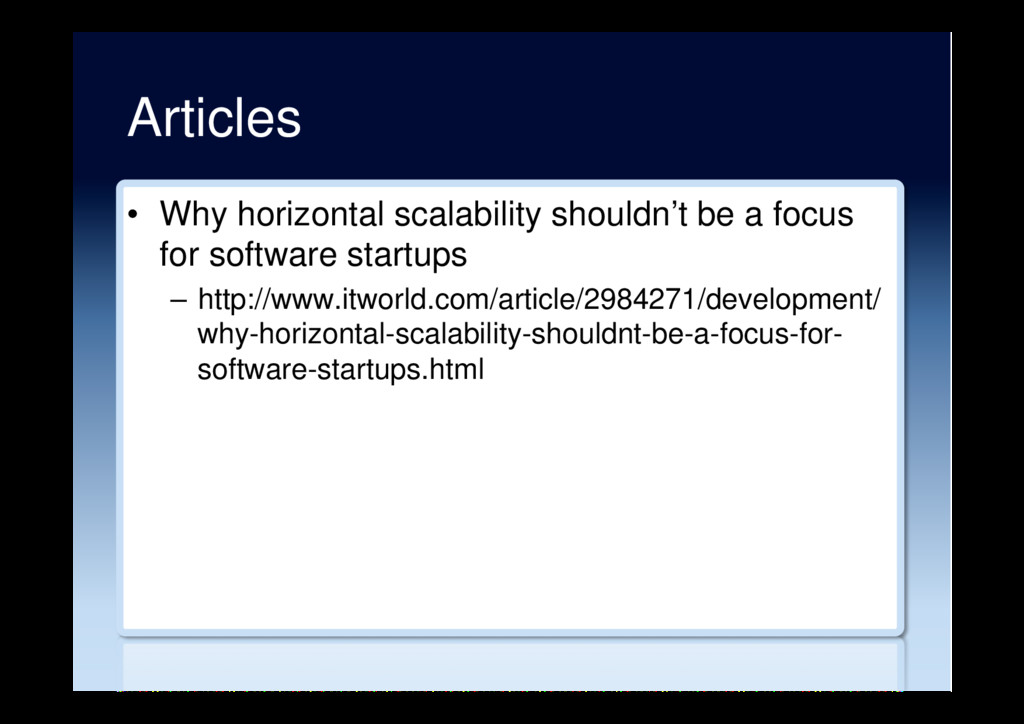 Articles •  Why horizontal scalability shouldn'...