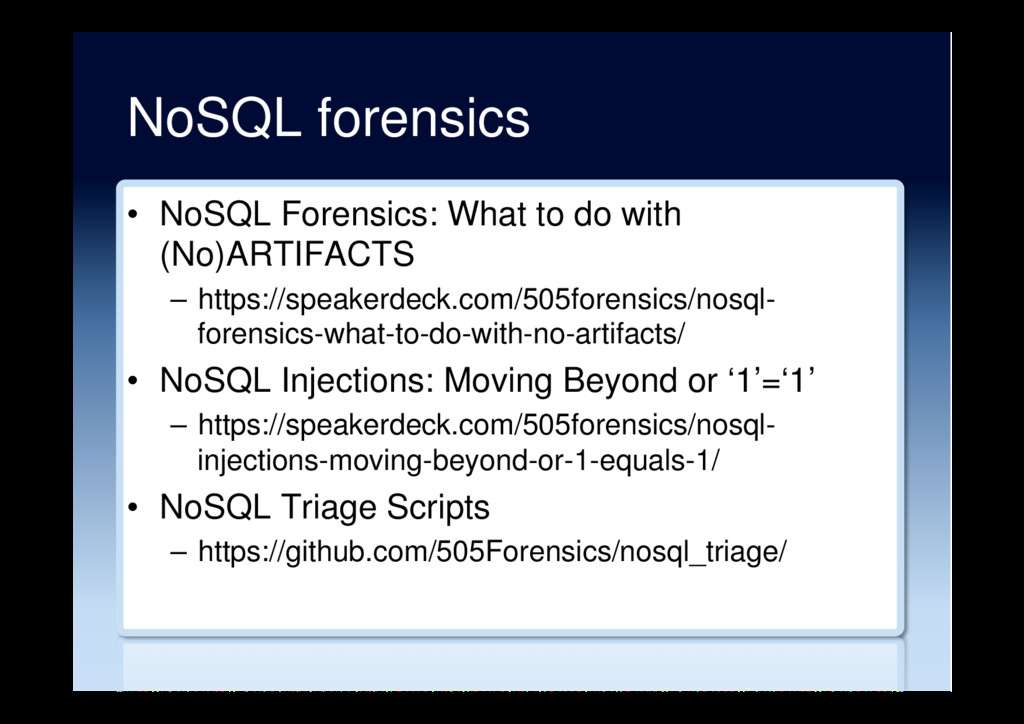 NoSQL forensics •  NoSQL Forensics: What to do ...