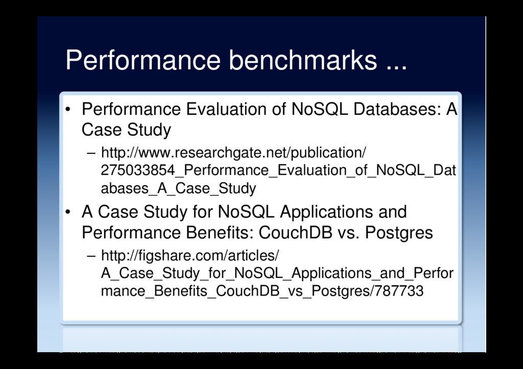 Performance benchmarks ... •  Performance Evalu...