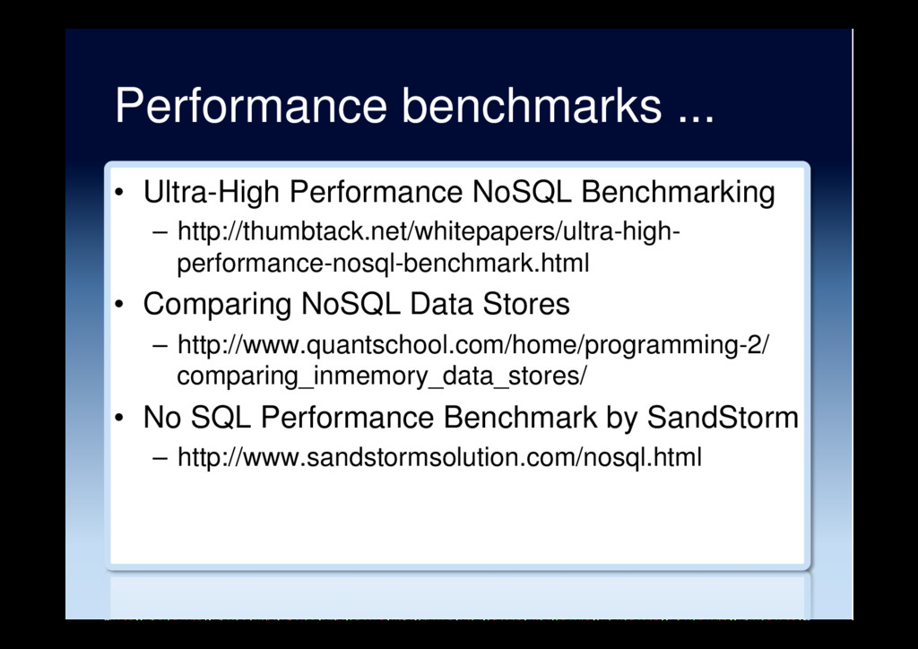 Performance benchmarks ... •  Ultra-High Perfor...