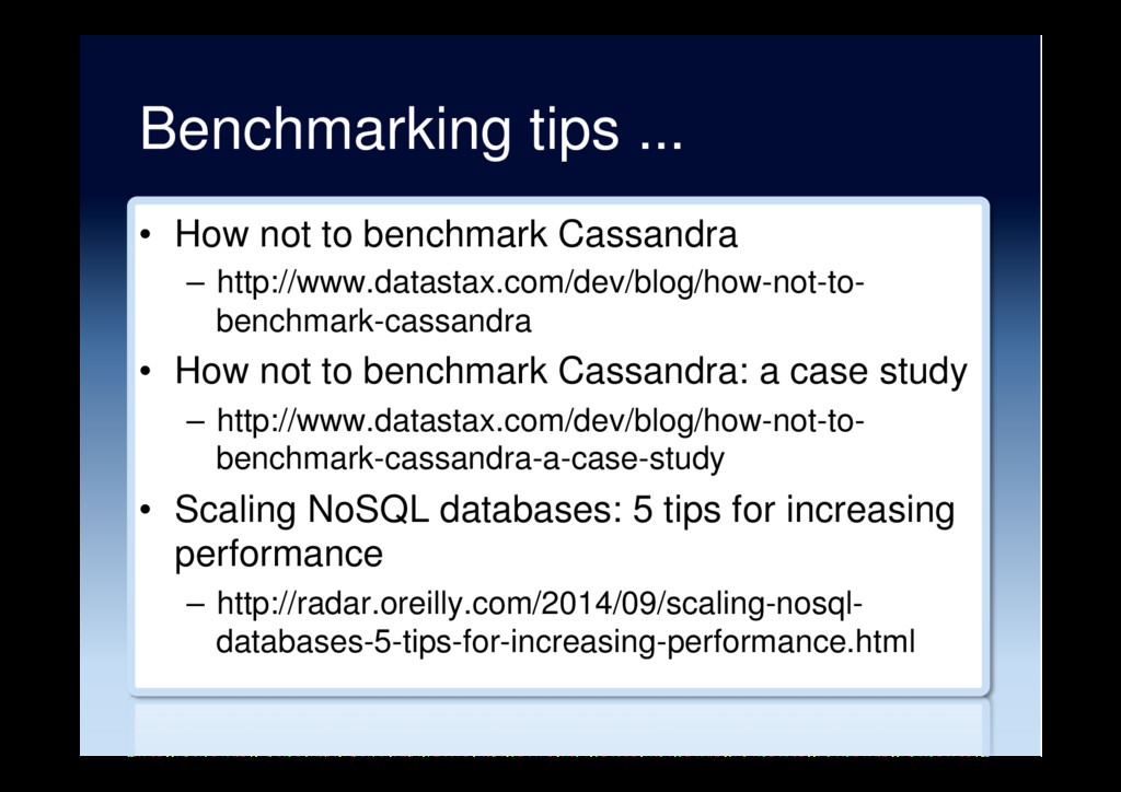 Benchmarking tips ... •  How not to benchmark C...