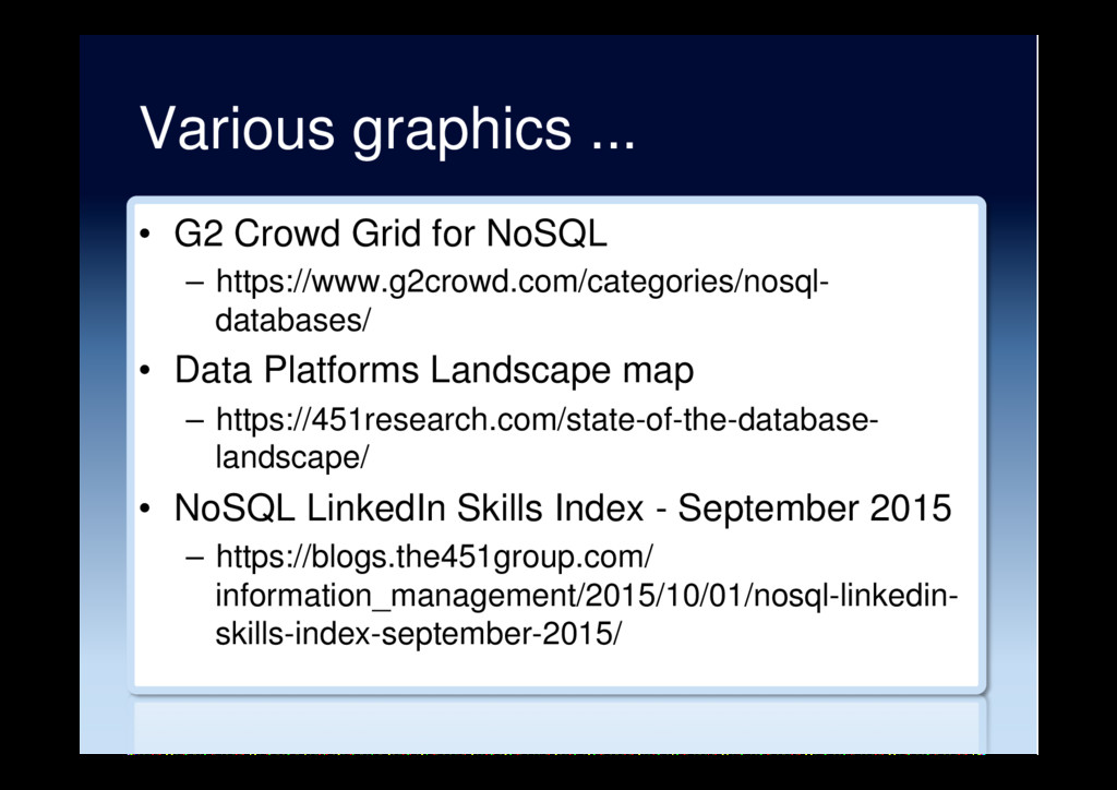Various graphics ... •  G2 Crowd Grid for NoSQL...