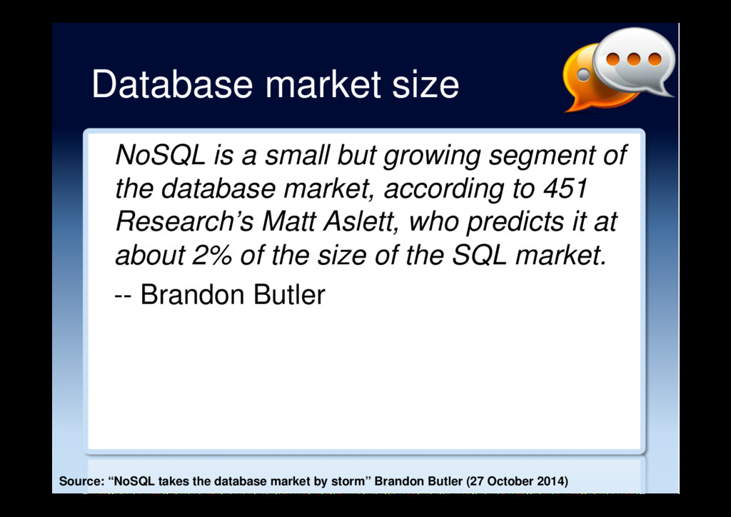 Database market size NoSQL is a small but growi...