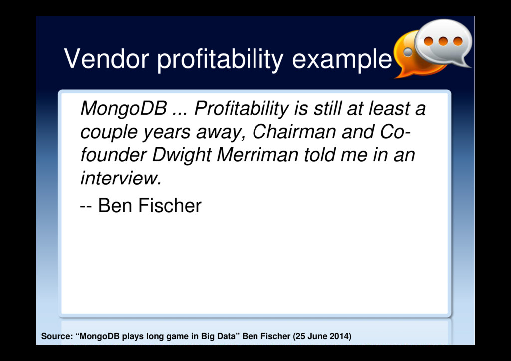 Vendor profitability example MongoDB ... Profit...