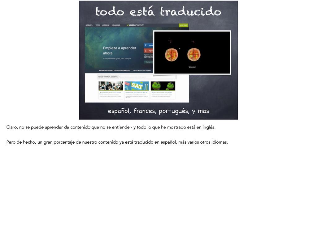 todo está traducido español, frances, portugués...