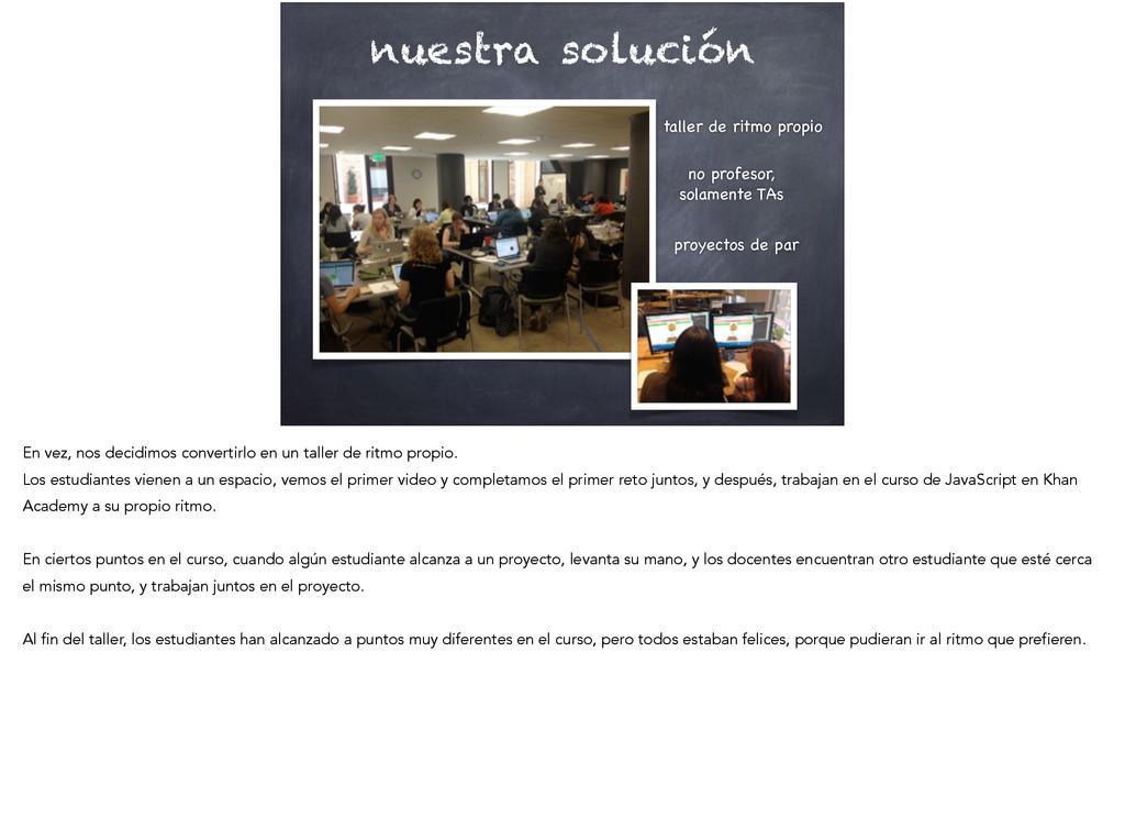 nuestra solución taller de ritmo propio  no pr...