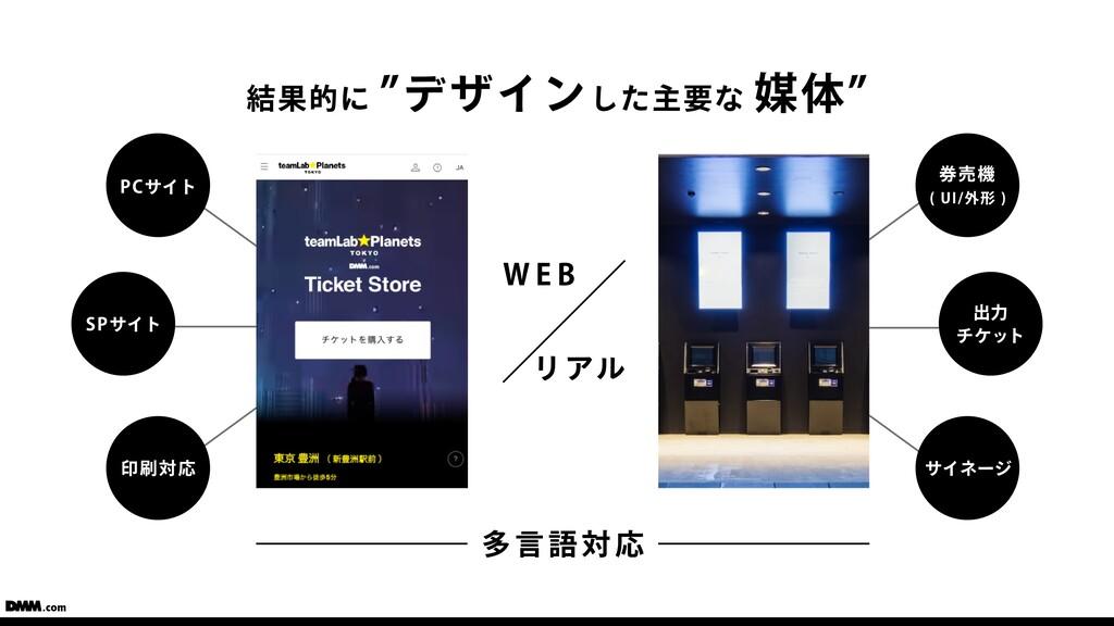 """結果的に """"デザインした主要な 媒体"""" WEB リアル PCサイト SPサイト 印刷対応 券売..."""