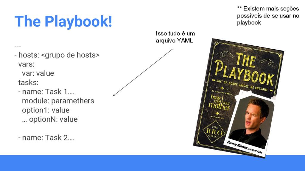The Playbook! --- - hosts: <grupo de hosts> var...