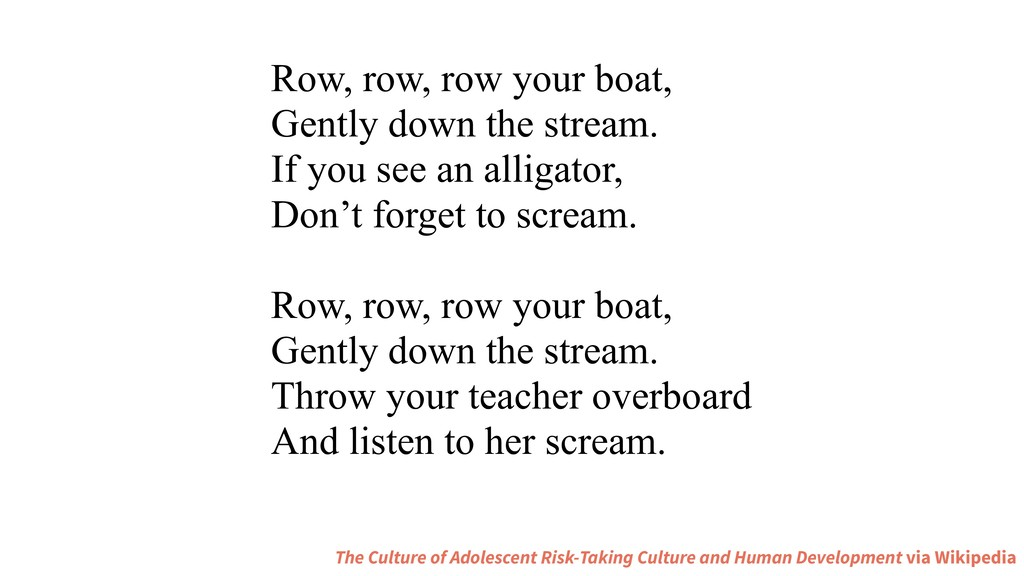 Row, row, row your boat, Gently down the stream...