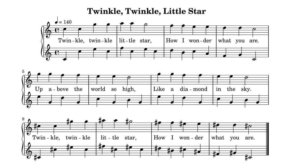 Twinkle, Twinkle, Little Star what I won = 140 ...