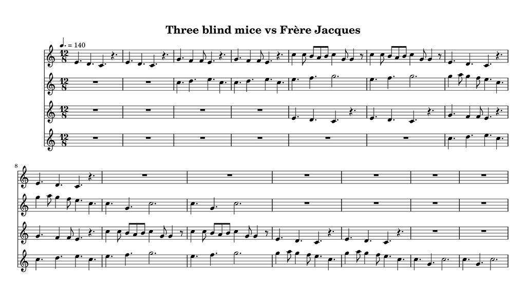 Three blind mice vs Frère Jacques 8 12 8 12 8 1...