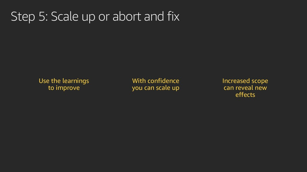 Step 5: Scale up or abort and fix Use the learn...
