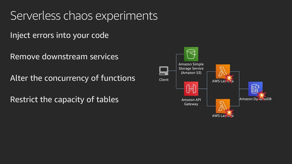 Serverless chaos experiments Inject errors into...
