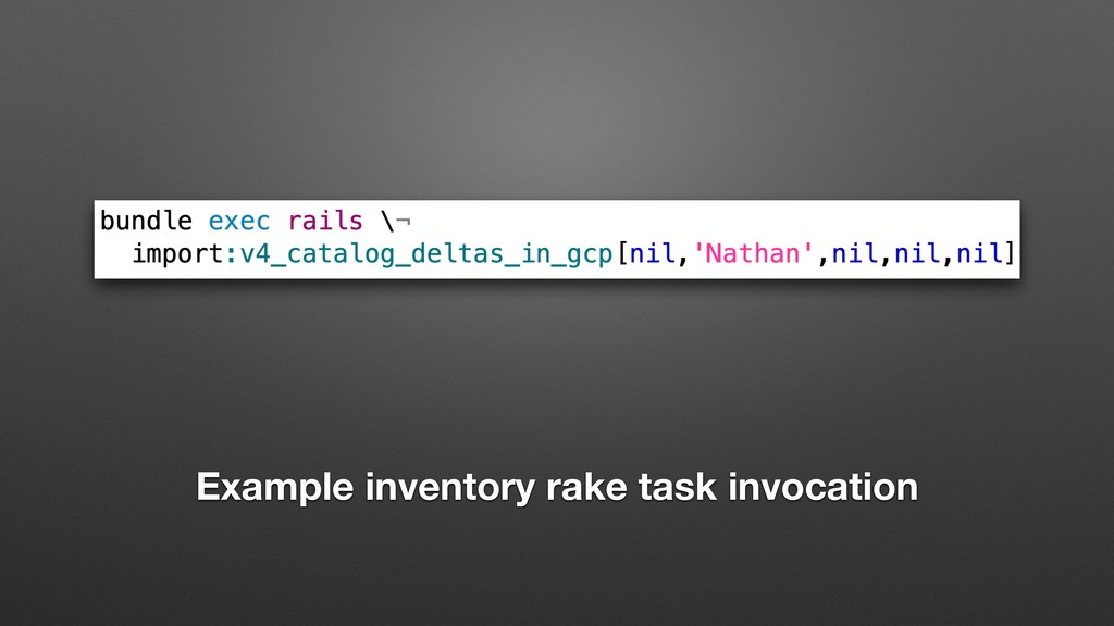 Example inventory rake task invocation