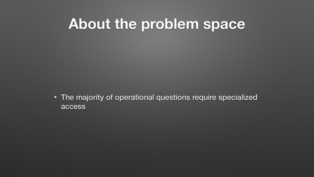 About the problem space • The majority of opera...