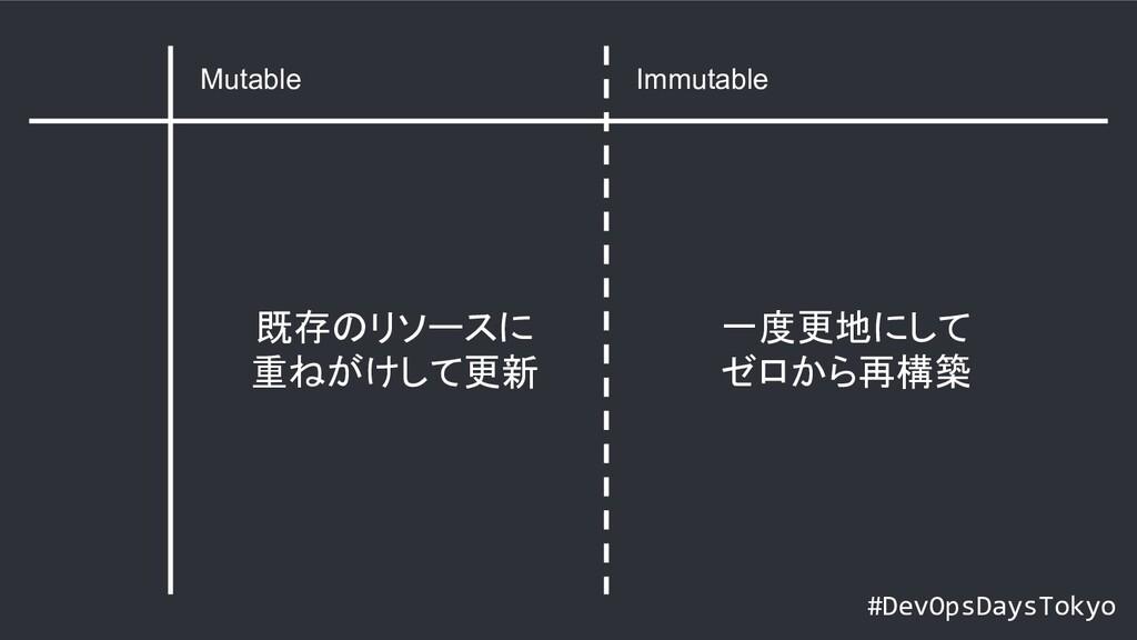 #DevOpsDaysTokyo Mutable Immutable 既存のリソースに 重ねが...