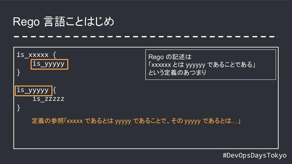 #DevOpsDaysTokyo Rego 言語ことはじめ is_xxxxx { is_yyy...