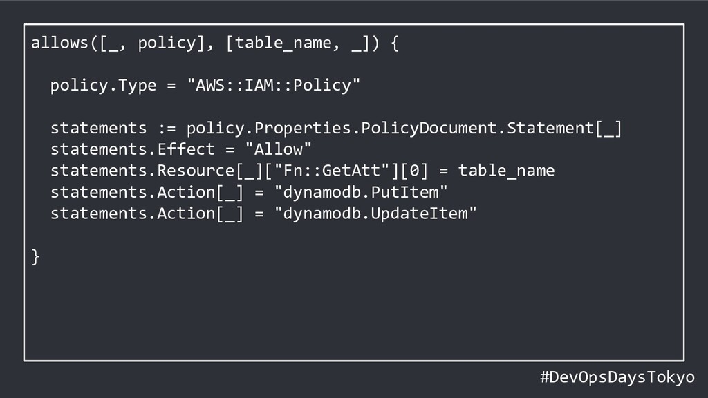 #DevOpsDaysTokyo allows([_, policy], [table_nam...