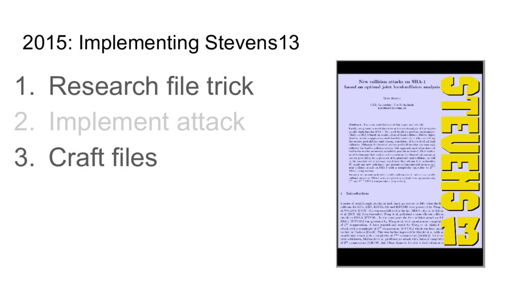 2015: Implementing Stevens13 1. Research file t...