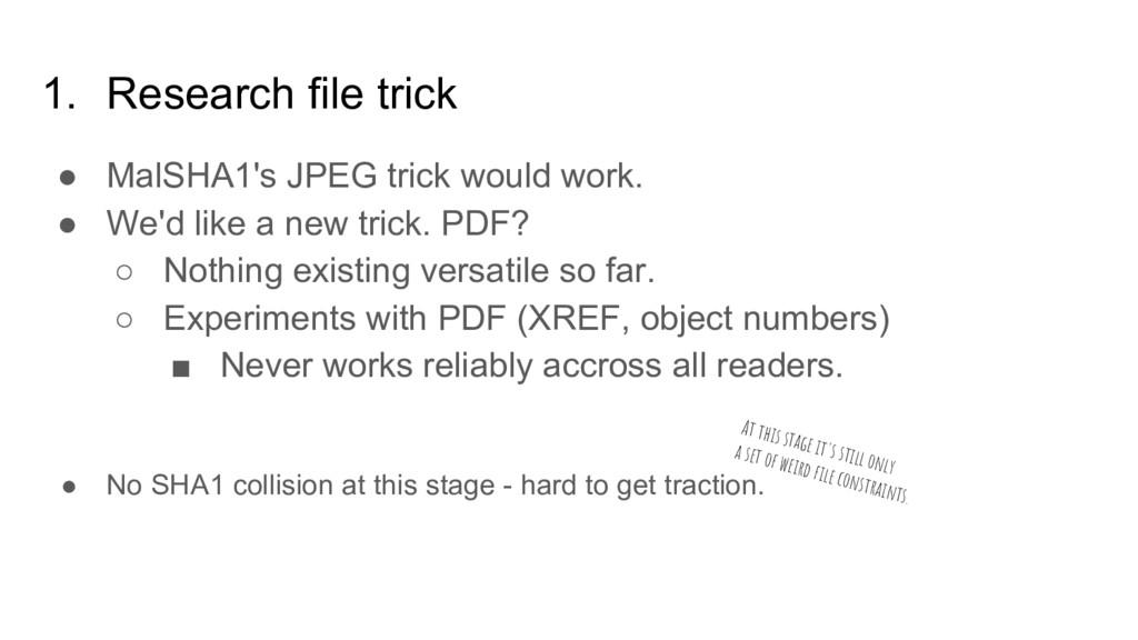 1. Research file trick ● MalSHA1's JPEG trick w...