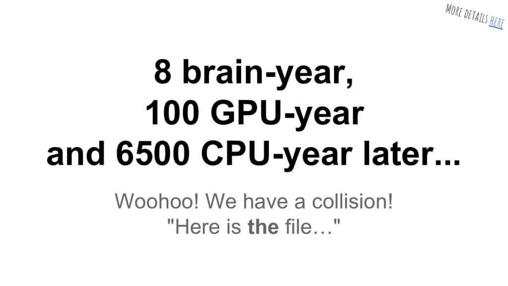 8 brain-year, 100 GPU-year and 6500 CPU-year la...