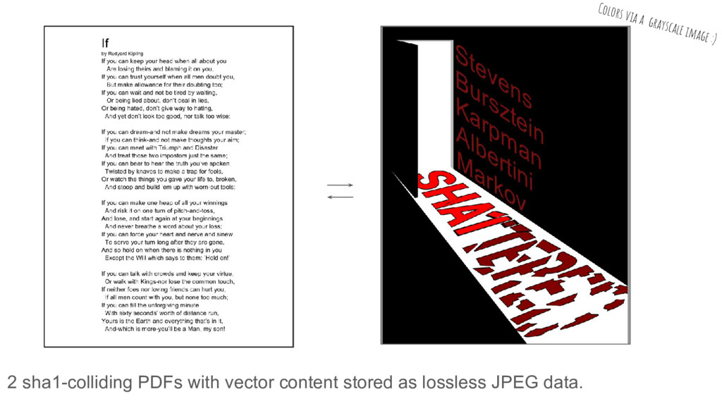 2 sha1-colliding PDFs with vector content store...
