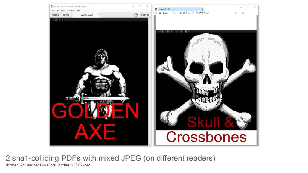 2 sha1-colliding PDFs with mixed JPEG (on diffe...