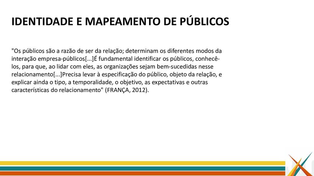 """IDENTIDADE E MAPEAMENTO DE PÚBLICOS """"Os público..."""